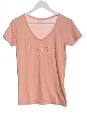 Calvin Klein Jeans Koszulka z dekoltem w kształcie litery V nude W stylu casual