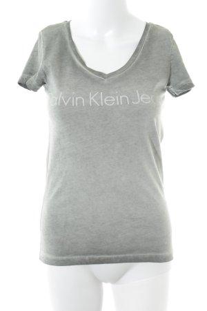 Calvin Klein Jeans V-Ausschnitt-Shirt hellgrau Schriftzug gedruckt Casual-Look