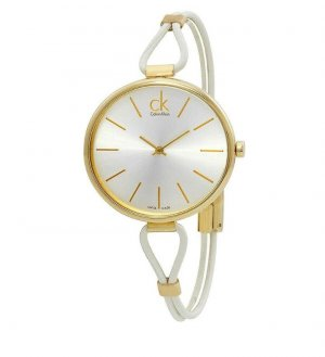 Calvin Klein Montre avec bracelet en cuir blanc