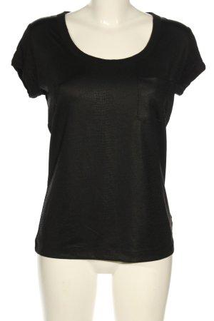 Calvin Klein Kurzarm-Bluse schwarz Animalmuster Casual-Look