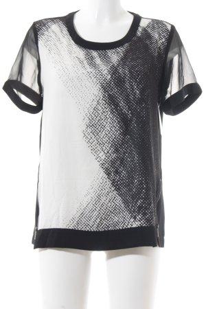 Calvin Klein Kurzarm-Bluse schwarz-weiß abstraktes Muster Business-Look