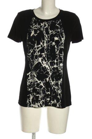 Calvin Klein Kurzarm-Bluse schwarz-wollweiß abstraktes Muster Casual-Look