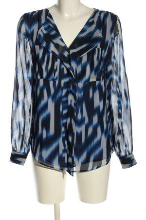Calvin Klein Langarm-Bluse blau-weiß abstraktes Muster Casual-Look