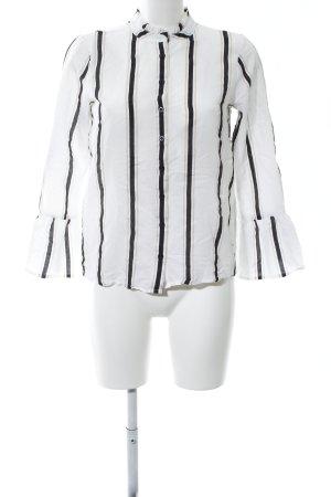 Calvin Klein Langarm-Bluse weiß-schwarz Streifenmuster Business-Look