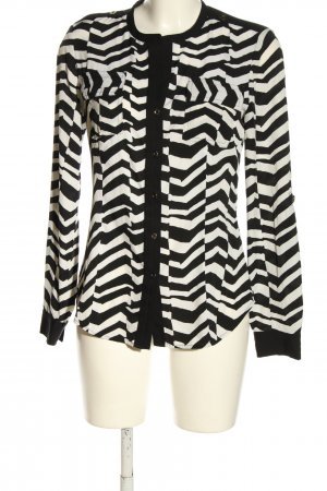 Calvin Klein Langarmhemd schwarz-weiß Allover-Druck Casual-Look