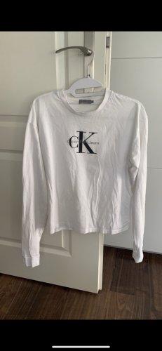 Calvin Klein Lang shirt wit-zwart