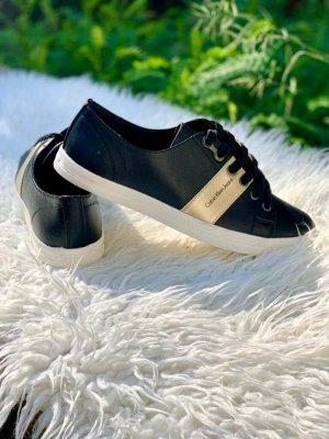Calvin Klein Jeans Sznurowane trampki czarny-piaskowy brąz Skóra