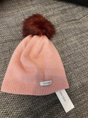 Calvin Klein Pom-pom muts roségoud-bordeaux Kasjmier