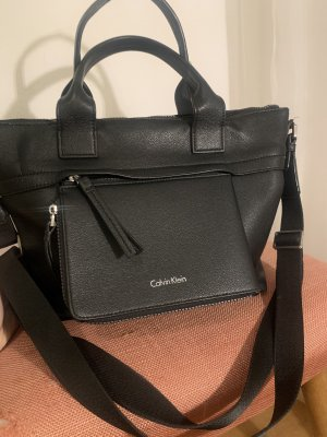 Calvin Klein Handbag black-silver-colored leather