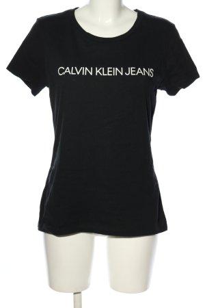 Calvin Klein T-shirt imprimé noir-blanc lettrage imprimé style décontracté
