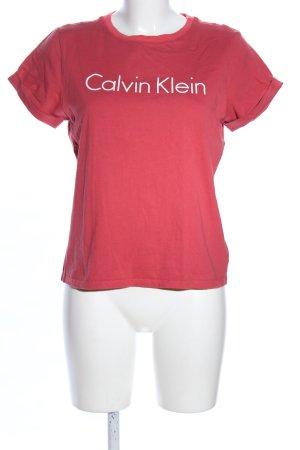 Calvin Klein Print-Shirt rot Schriftzug gedruckt Casual-Look