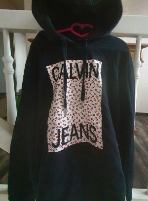 Calvin Klein Jeans Pull à capuche noir-rouge foncé