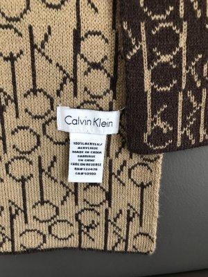 Calvin Klein Bufanda de punto marrón oscuro-beige