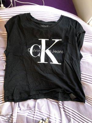 Calvin Klein Jeans Cropped Shirt black-white