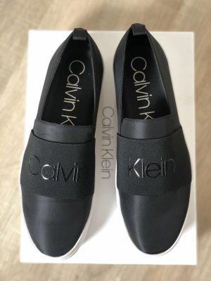 Calvin Klein Slip-on Sneakers black-white leather