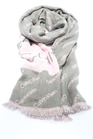 Calvin Klein Bufanda de punto gris claro-rosa letras impresas look casual