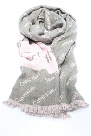 Calvin Klein Knitted Scarf light grey-pink printed lettering casual look