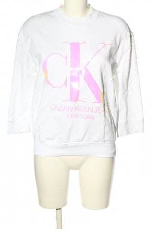Calvin Klein Sweatshirt weiß Schriftzug gedruckt Casual-Look