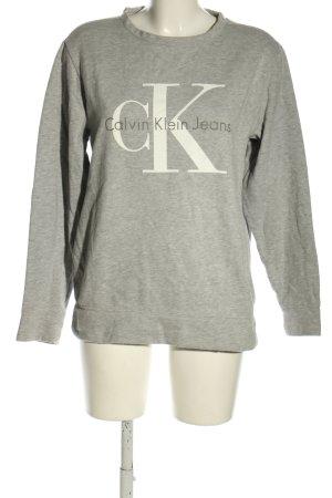 Calvin Klein Sweatshirt hellgrau-weiß Schriftzug gedruckt Casual-Look