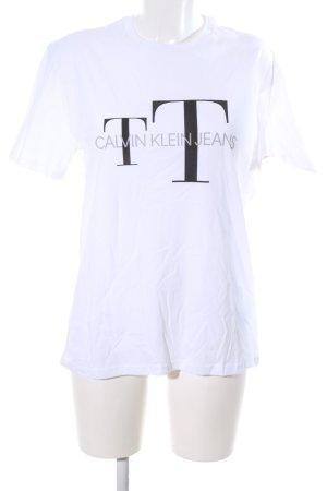 Calvin Klein T-Shirt weiß-schwarz Schriftzug gedruckt Casual-Look