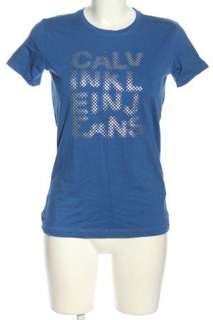 Calvin Klein T-Shirt blau-silberfarben Schriftzug gedruckt Casual-Look
