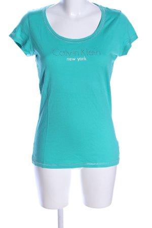 Calvin Klein T-Shirt türkis Schriftzug gedruckt Casual-Look