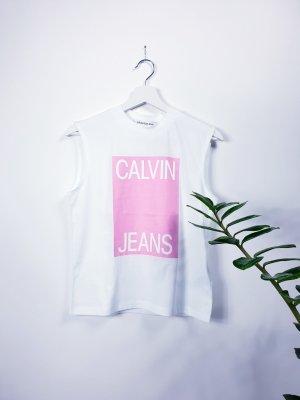 Calvin Klein Muscleshirt wit-roze Katoen