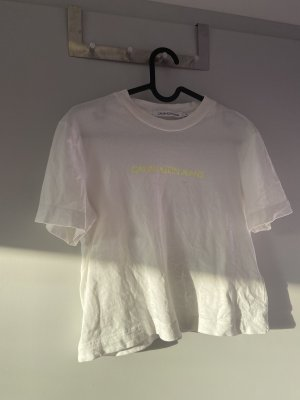 Calvin Klein Cropped shirt wit-sleutelbloem