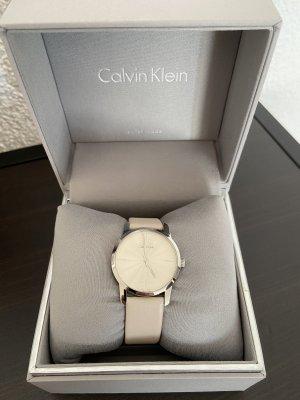 Calvin Klein Montre avec bracelet en cuir gris clair