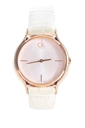 Calvin Klein Uhr mit Lederarmband weiß-goldfarben Allover-Druck Business-Look