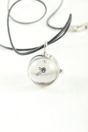 Calvin Klein Horloge met lederen riempje zilver-zwart elegant