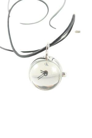 Calvin Klein Uhr mit Lederarmband silberfarben-schwarz Elegant