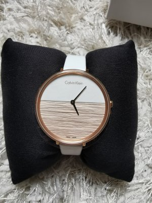 Calvin Klein Watch With Leather Strap white-gold-colored