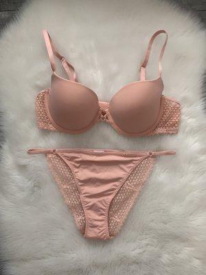 Calvin Klein Underwear Unterwäsche Set rose rosa apricot Aprikose Spitze 75B 34B S 36 neuwertig