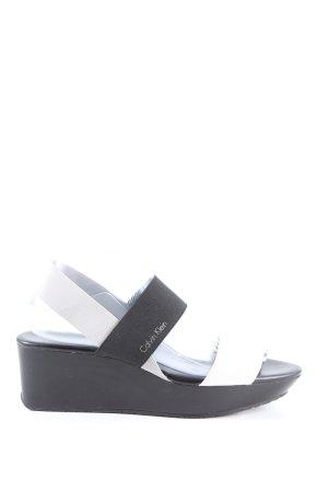 Calvin Klein Wedges Sandaletten schwarz-weiß Casual-Look