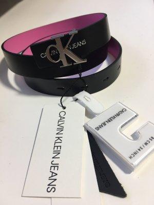 Calvin Klein Jeans Omkeerbare riem zwart-roze Leer