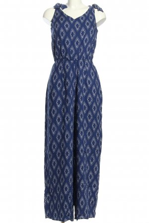 Calzedonia Jumpsuit blau-weiß Allover-Druck Casual-Look