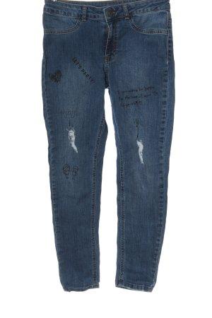 Calzedonia Slim Jeans blau Schriftzug gedruckt Casual-Look