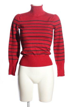 Camaieu Rollkragenpullover rot-schwarz Streifenmuster Casual-Look