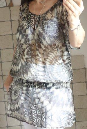 Camaieu Tunika (Frankreich), Boutique, Schlupfbluse zart, 100% Seide, khaki, schlammfarben, Gummizug in der Hüfte, Schößchen, #fließend leicht, durchscheinend, neuwertig, Gr. L