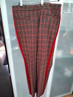 Cambio Pantalon en laine brun foncé-rouge brique