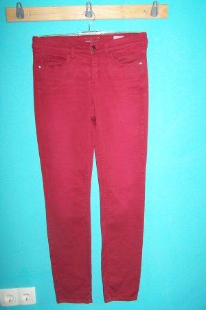 Cambio Pantalon strech rouge foncé coton