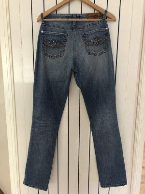 Cambio Jeans slim bleu coton