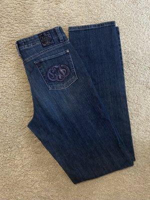 Cambio Jeans Broek met wijd uitlopende pijpen donkerblauw