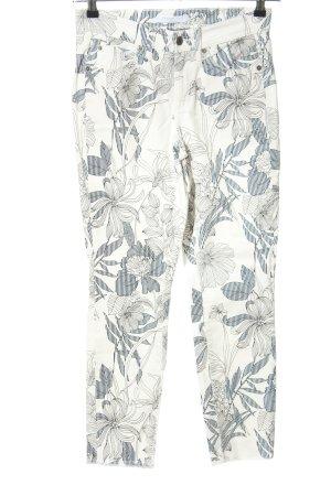 Cambio Jeans High Waist Jeans weiß-blau Allover-Druck Casual-Look
