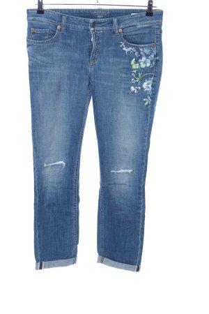 Cambio Jeans Jeans taille basse bleu motif de fleur style décontracté