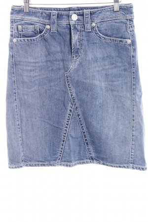 Cambio Jeans Jeansowa spódnica stalowy niebieski-biały Logo wykonane ze skóry