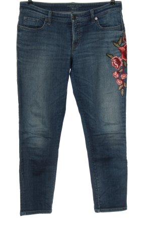 Cambio Jeans Jeansy z prostymi nogawkami niebieski-różowy Wzór w kwiaty