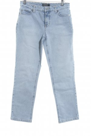 Cambio Jeans Straight-Leg Jeans weiß-himmelblau meliert Washed-Optik