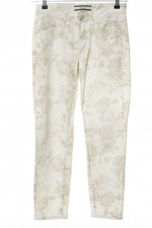 Cambio Slim Jeans cream flower pattern casual look